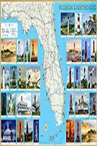 ePub Florida Lighthouses Illustrated Map  Guide Laminated Poster download